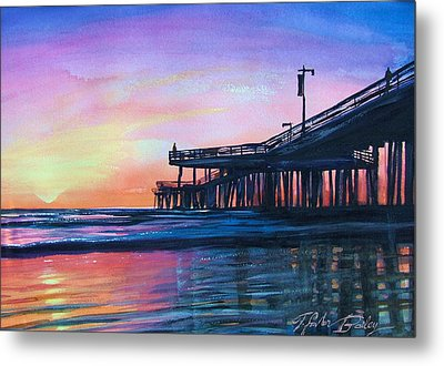 Pismo Pier Sunset Metal Print by Therese Fowler-Bailey