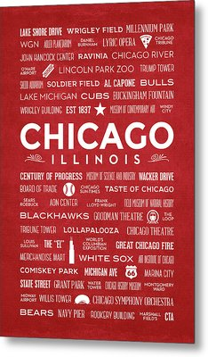 Places Of Chicago On Red Chalkboard Metal Print by Christopher Arndt