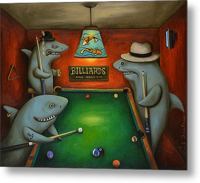 Pool Sharks Metal Print by Leah Saulnier The Painting Maniac