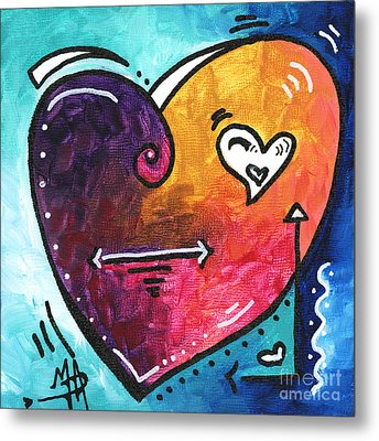 Pop Of Love Heart Painting Fun Upbeat And Colorful Pop Art By Megan Duncanson Metal Print