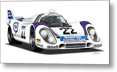 Porsche 917 Illustration Metal Print