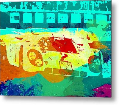 Porsche 917 Watercolor Metal Print by Naxart Studio