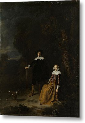 Portrait Of A Couple In A Landscape Metal Print by Gerard Dou