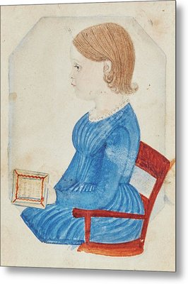 Portrait Of A Girl In A Blue Dress Metal Print by Justus Dalee