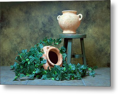 Pottery With Ivy I Metal Print