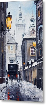 Prague Old Street 02 Metal Print by Yuriy  Shevchuk