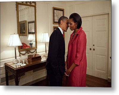 President And Michelle Obama Wait Metal Print by Everett