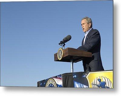 President George W. Bush Speaking Metal Print by Everett