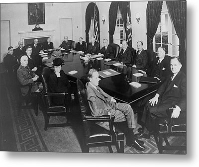 President Roosevelt Meeting Metal Print by Everett