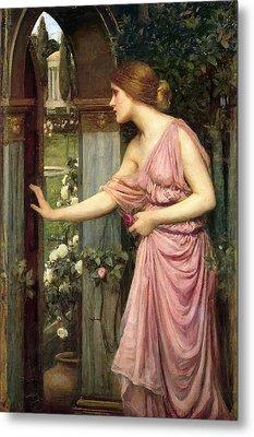 Psyche Entering Cupid's Garden Metal Print by John William Waterhouse