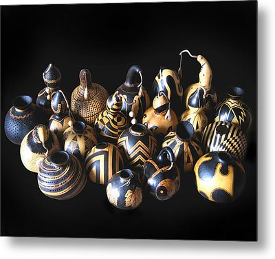 Pyrographed Gourds Metal Print by Dino Muradian