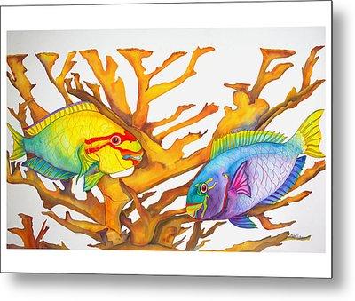 Queen Parrotfish And Elkhorn Coral Metal Print