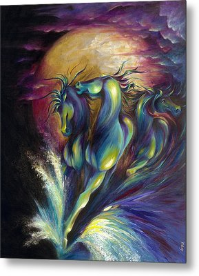 Metal Print featuring the painting Racing The Moon by Dina Dargo