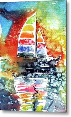 Rainbow Sailboat At Sunset Metal Print by Kovacs Anna Brigitta