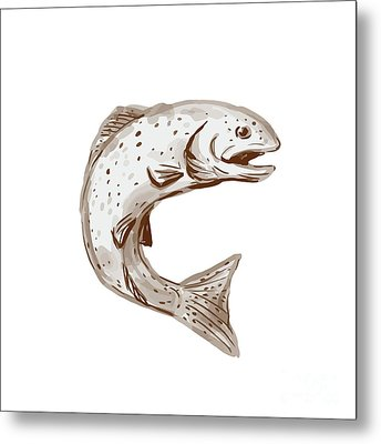 Rainbow Trout Jumping Watercolor Metal Print by Aloysius Patrimonio