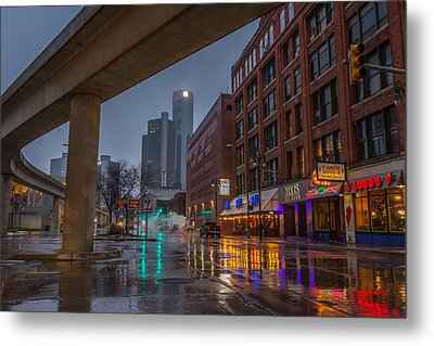 Rainy Night In Detroit  Metal Print
