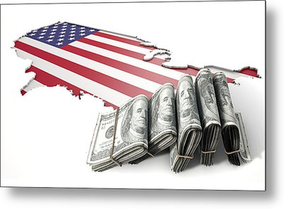 Recessed Country Map And Cash Usa Metal Print