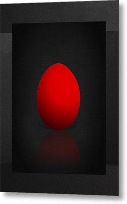 Red Egg On Black Canvas  Metal Print