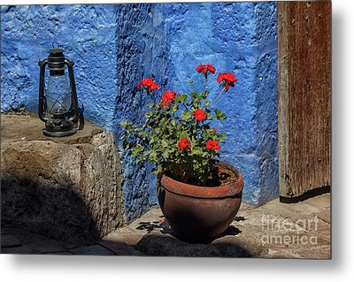 Metal Print featuring the photograph Red Geranium Near A Blue Wall by Patricia Hofmeester