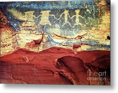 Red Rock Canyon Petroglyphs Metal Print by Jim And Emily Bush