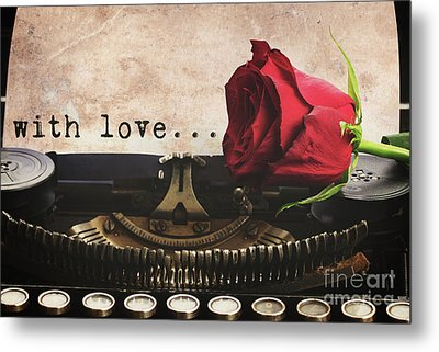 Red Rose On Typewriter Metal Print