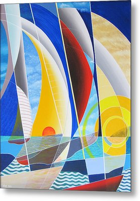 Metal Print featuring the painting Red Sail In The Sunset by Douglas Pike