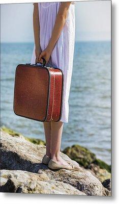 Red Suitcase Metal Print by Joana Kruse
