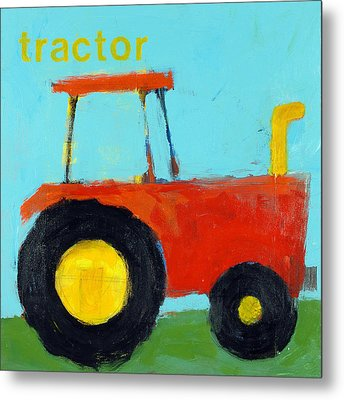 Red Tractor Metal Print by Laurie Breen