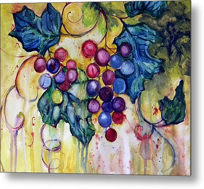 Red Water Color Grapes Metal Print by Peggy Wilson