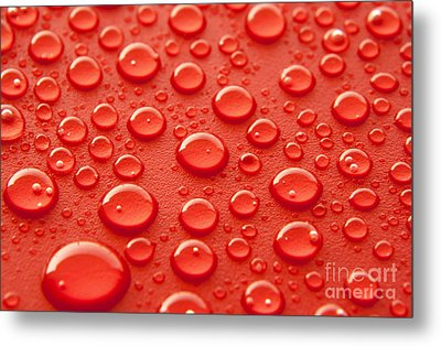 Red Water Drops Metal Print