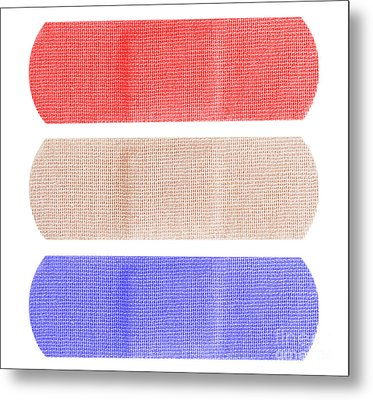 Red White And Blue Bandaids Metal Print