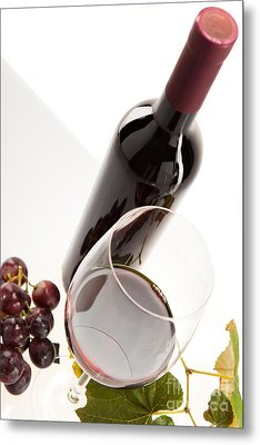 Red Wine In Glass With Fruit Metal Print