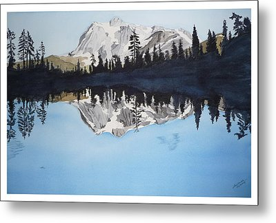 Metal Print featuring the painting Reflection Lake by Joel Deutsch