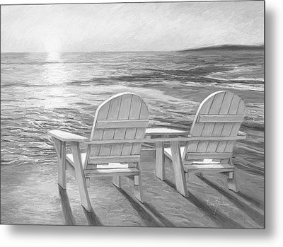 Relaxing Sunset - Black And White Metal Print by Lucie Bilodeau