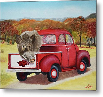 Ridin' With Razorbacks 2 Metal Print by Belinda Nagy