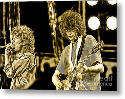 Robert Plant And Jimmy Page Metal Print by Marvin Blaine