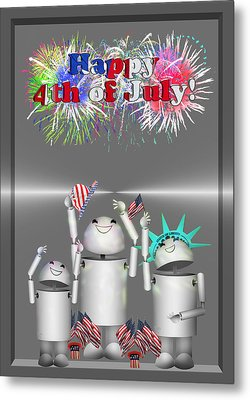 Robo-x9 Celebrates Freedom Metal Print by Gravityx9  Designs