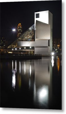 Rock And Roll Hall Of Fame At Night Metal Print by At Lands End Photography