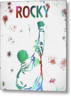 Rocky Balboa Paint Splatter Metal Print by Dan Sproul