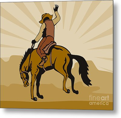 Rodeo Cowboy Bucking Bronco Metal Print by Aloysius Patrimonio