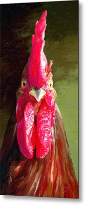 Metal Print featuring the painting Rooster 1 by James Shepherd
