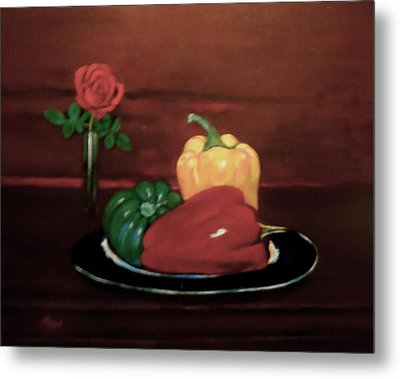 Rose And Peppers Metal Print