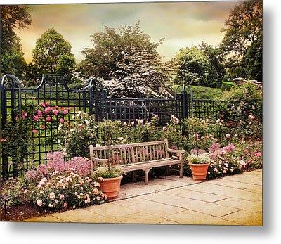 Rose Garden Trellis Metal Print by Jessica Jenney