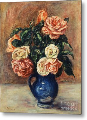 Roses In A Blue Vase Metal Print by Pierre Auguste Renoir