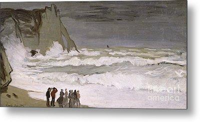 Rough Sea At Etretat Metal Print by Claude Monet