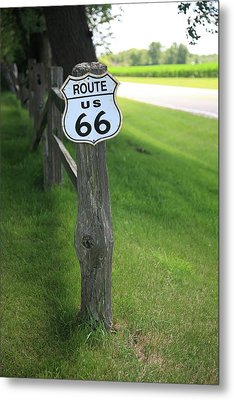 Metal Print featuring the photograph Route 66 Shield And Fence Post by Frank Romeo