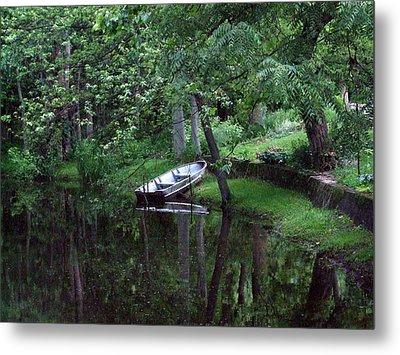 Rowboat In Woods Metal Print by Michael L Kimble