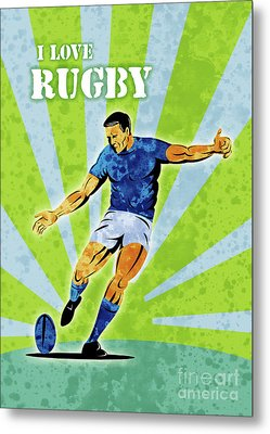 Rugby Player Kicking The Ball Metal Print
