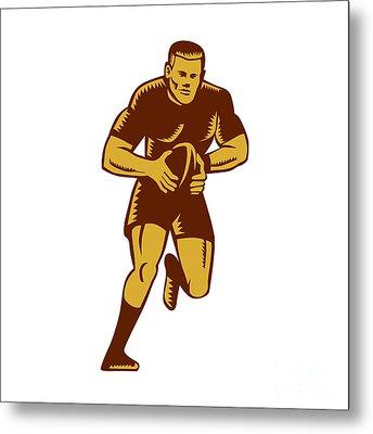 Rugby Player Running Ball Woodcut Metal Print