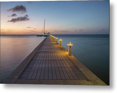 Metal Print featuring the photograph Rum Point Pier At Sunset by Adam Romanowicz